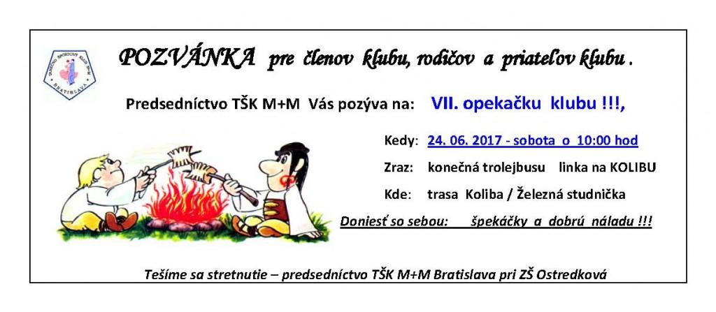 1 TŠK M+M POZVÁNKA VII. Opekačka 2017