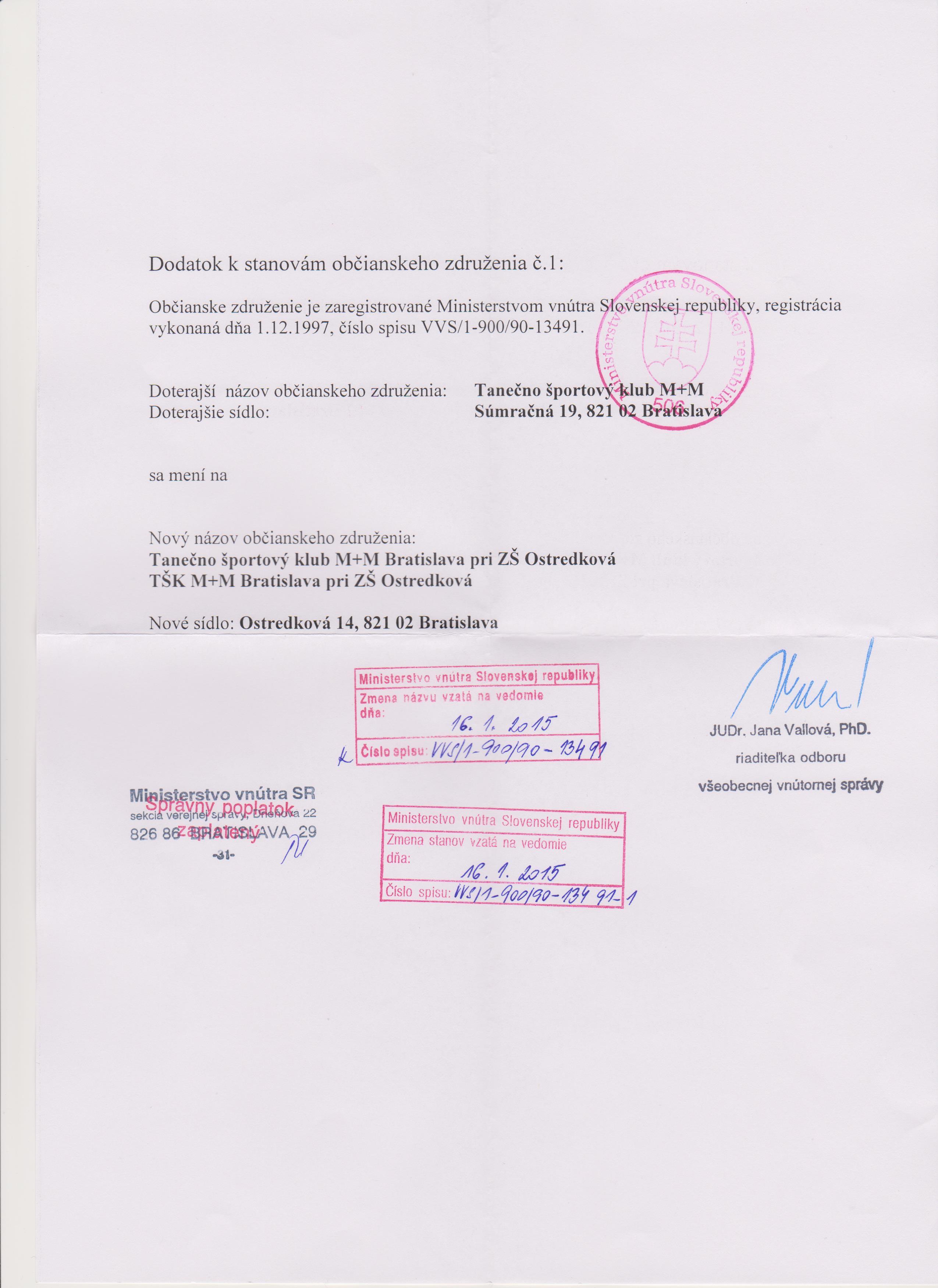 2.1TŠK M+M BA Dodatok k stanovám č.1 - 2015 MV SR